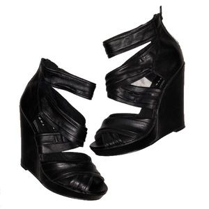 Leather Strappy Wedges
